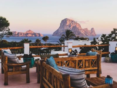 Roof terrace with views on Es Vedra